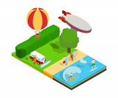 Warm Tourism Concept Banner. Isometric Banner Of Warm Tourism Vector Concept For Web, Giftcard And P poster