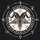 Vector Banner With Illustration Of The Head Of A Horned Goat And Pentagram Inscribed In A Circle. Th poster