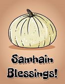 Samhain Blessings Fall Pagan Holiday Pumpkin Postcard. Autumn Halloween Harvest Celebration Flyer poster