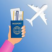 Hand Of Stewardess With Passport And Air Ticket On Round Blue Background. Business Hand Holding Pass poster