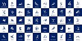 Collection Of 50 Sport Pictograms On Blue And White Background. Vector Pictograms poster