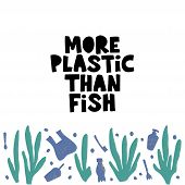 Plastic Damaging Sea Life Vector Banner Template. Disposable Cups, Toothbrushes, Cosmetics Bottles O poster