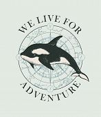 Vector Banner With Big Hand-drawn Killer Whale On The Background Of Old Map In Retro Style. Illustra poster