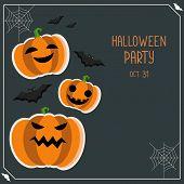 Halloween Greeting Vector Card. Halloween Party Flyer. Halloween Banner With Pumpkin And Bats.hallow poster