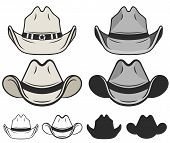 Cowboy Hat Flat Color And Line. Old Cowboy Hat. Vector poster