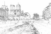 Vector Illustration, In Sketch Style, Of Notre Dame De Paris And A Boat On Seine River - Paris, Fran poster