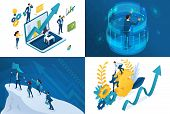 Set Isometric Concept Of Striving For Success. Modern Illustration Concepts For Website And Mobile W poster