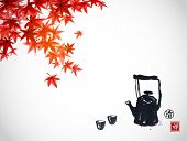 Traditional Asian Tea Ceremony. Teapot And Cups Under Red Japanese Maple Branches On White Backgroun poster