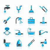 picture of plumbing  - plumbing objects and tools icons  - JPG