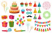 Cartoon Party Kit. Rocket Fireworks, Colorful Balloons And Birthday Gifts. Carnival Masks And Sweet  poster