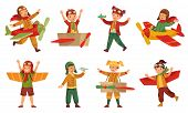 Kids In Pilot Costumes. Paper Toy Plane Wings, Adorable Kids Play With Airplanes Toys And Child Airc poster