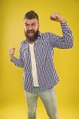 Awesome News. Beard Fashion And Barber Concept. Man Bearded Hipster Stylish Beard Yellow Background. poster