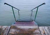 Empty Deck At Balaton Lakeshore In The Morning Hours In Hungary. poster
