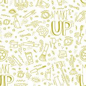 Make Up Doodle Pattern With Lipstick, Cream, Mascara, Powder, Shades, Brush, Handwritten Lettering.  poster
