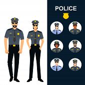 Police Man And Woman - Icons Set. Professions - Police Officers. Cops In Uniform Vector Illustration poster