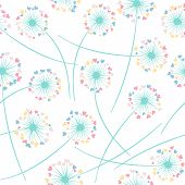Dandelion Blowing Plant Vector Floral Seamless Pattern. Spring Flowers With Heart Shaped Fluff Flyin poster