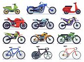 Motorcycle Set. Motorbike And Scooter, Sport Bike And Chopper. Motocross Race And Delivery Vehicles  poster
