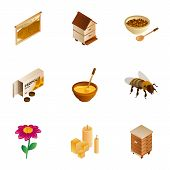 Honey Wax Icon Set. Isometric Set Of 9 Honey Wax Vector Icons For Web Design Isolated On White Backg poster
