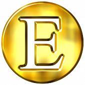 Постер, плакат: 3D золотая буква E