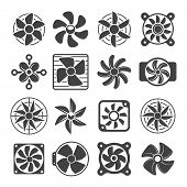 Cooling Fan Icons. Cool Fans Vector Symbols, Electrical Air Industry Signs, Electric Wind Climate In poster