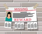 Wanted Person Paper Poster. Missing Announce. Information Tear Off Papers. Search For Lost Person In poster