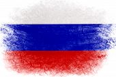 Russia Flag In Grunge Style. Russian Flag With Grunge Texture. National Symbol Of The Russian Federa poster