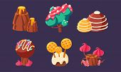 Cute Sweet Candy Trees, Mountain, Mushrooms Set, Fantasy Landscape Elements For Mobile Or Video Game poster