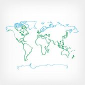 Drawing Ecology World Map On White Background. Drawn Green And Blue Color Earth Land Continent. Ecol poster
