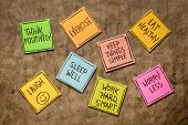 healthy lifestyle and wellbeing concept - a set of inspirational reminder notes poster