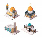 Religion Buildings. Muslim Mosque Lutheran Church Christian And Catholic Cultural Traditional Religi poster