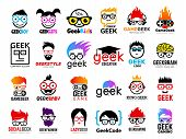 Geek Logo. Business Badges Symbols Of Gamers Nerd Smart Characters Easy Learning Face With Glasses V poster