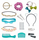 Hair Accessories. Woman Stylish Hair Item Clips Flowers Bandanas Gags Bows Elastic Bands Hoops Vecto poster