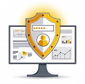 Shield Over Computer Monitor, Private Data Security Concept, Antivirus Or Firewall, Finance Protecti poster
