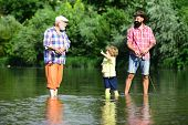 3 Men Fishing On River In Summer Time. Grandfather And Grandchild. Man In Different Ages. Dad And So poster