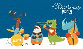 Christmas Party Vector Poster With Cute Jazz poster