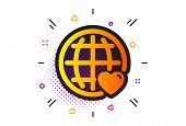 Heart With Globe Symbol. Halftone Circles Pattern. International Love Icon. Valentines Day Sign. Cla poster