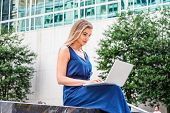 Way To Success. Young Beautiful  Eastern European American Woman Studying In New York, Wearing Blue  poster