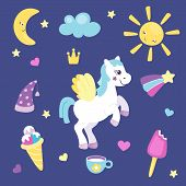 Set Of Cute Pony With Wings Or Beautiful Horse With Different Cute Items. Sun And Moon, Rainbow And  poster