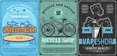 Surfing Sport Club, Bicycle Shop And Vape Store Vector Design With Surfing Board, Bike And Electroni poster