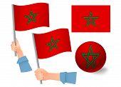 Morocco Flag In Hand Set. Ball Flag. National Flag Of Morocco Illustration poster