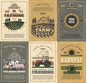 Agriculture And Farming Vector Design With Farm Field, Tractor And Barn, Cow Animals, Vegetables And poster