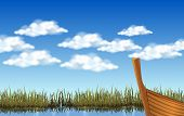 Skyscape Of Clouds On The Blue Sky At The Lake poster