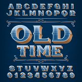 Old Time Alphabet Font. 3d Ornate Vintage Letters And Numbers. Vector Typeface For Your Typography D poster