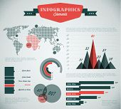 teal and red Vector  retro / vintage set of Infographic elements for your documents and reports