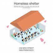 Homeless Shelter Volunteer Concept Banner. Isometric Illustration Of Homeless Shelter Volunteer Vect poster