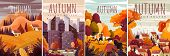 Four Different Designs For Autumn Posters With Colorful Fall Landscapes, Cityscape And Country Scene poster