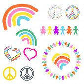Rainbow And Peace Symbols Hippie Pacifist Vector Illustration. Colorful Love World Sign Icons Clipar poster