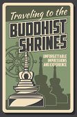 Buddhism And Dharma Enlightenment, Religious Buddhist Shrines Pilgrimage Travel Tours. Vector Vintag poster