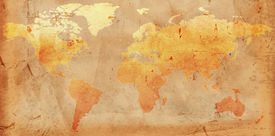 stock photo of treasure map  - Vintage outline world map over old paper - JPG