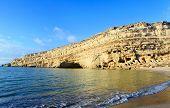 stock photo of empty tomb  - The cliffs at Matala beach - JPG